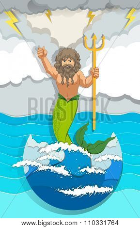 Male mermaid holding trident illustration