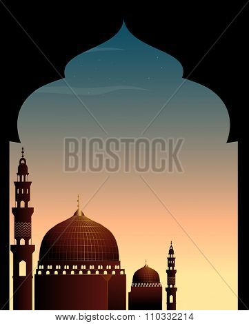 Scene with mosque at twilight illustration