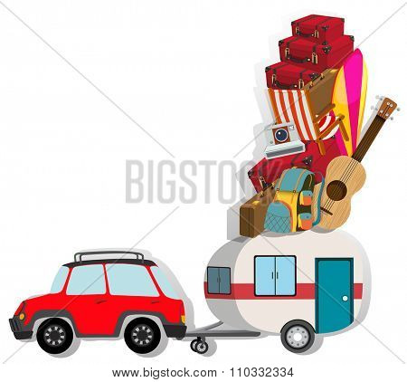 Car with wagon loaded with luggages illustration