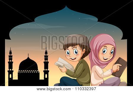 Boy and girl reading bible at mosque illustration