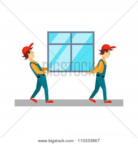Delivery Men Carrying Window, Vector Illustration