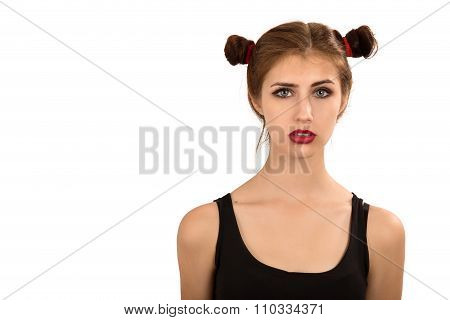 Serious Girl Isolated