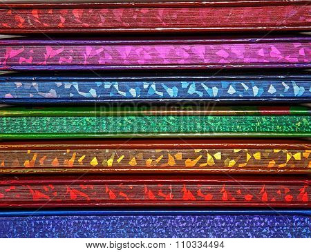 Texture Background With Children's Colorful Hardback Books.