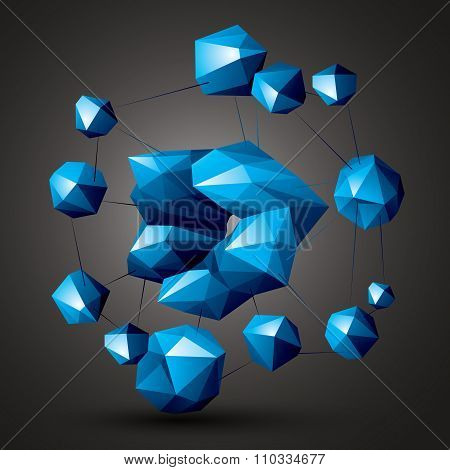 Complicated Abstract Colorful 3D Shapes, Vector Digital Objects. Technology Theme.
