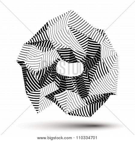 Geometric Monochrome Polygonal Striped Structure, Modern Science And Technology Vector Element. Arch
