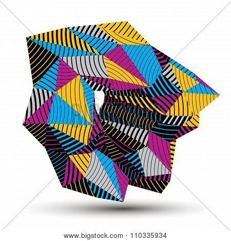 Geometric Abstract 3D Complicated Striped Vector Object, Colorful Asymmetric Three-dimensional Eleme