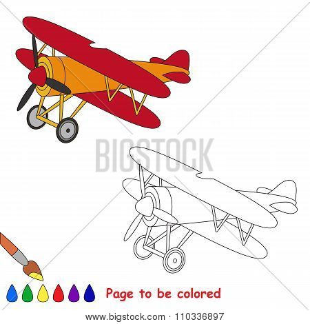 Biplane in vector cartoon to be colored.