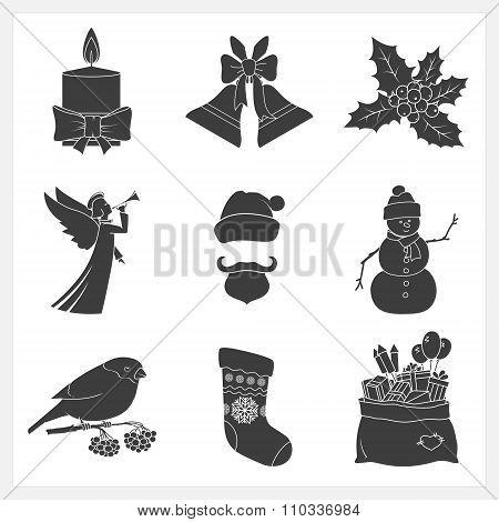 Set Monochrome Silhouettes Christmas Icons