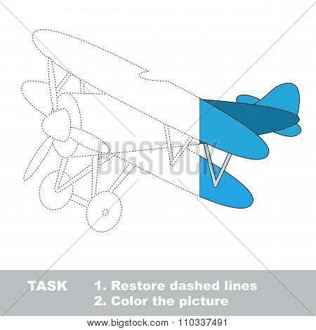 Biplane to be colored. Vector trace game.