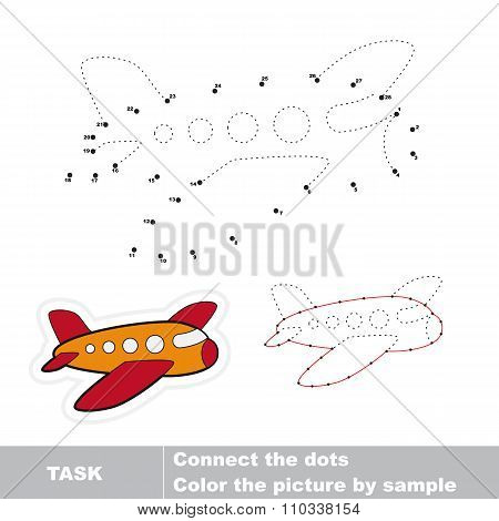 Airplane to be traced. Vector numbers game.