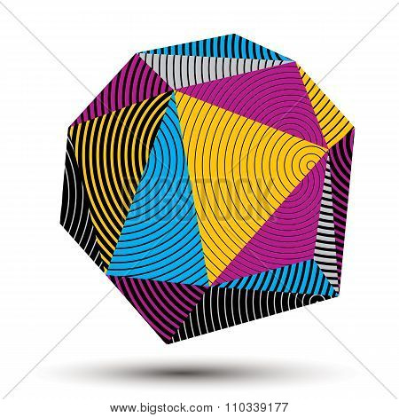 Complicated Abstract Colorful 3D Striped Shape, Vector Digital Object. Technology Theme.