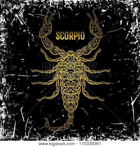 Scorpio. Ornate vintage golden Zodiac sign on grunge background. Vector hand drawn vector illustrati