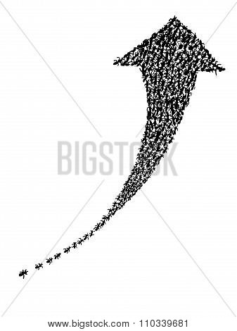 hand drawing of group of ants show the power of unity to made the arrow pointing up