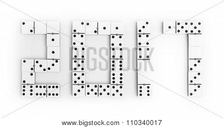 Year 2017 In Domino Pieces Over A White Background