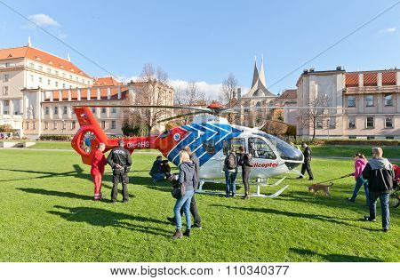 Emergency Medical Services Helicopter In Prague