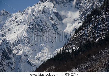Avalanche At Königsee In Bavaria
