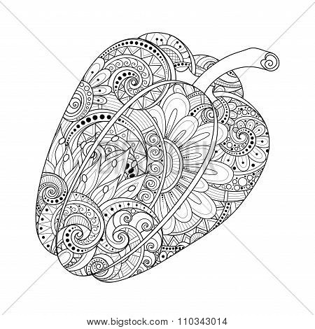 Vector Monochrome Decorative Bell Pepper With Beautiful Pattern