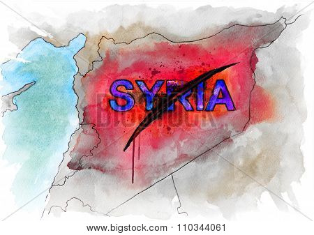Map of Syria. Conceptual watercolor illustration