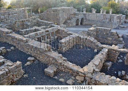 Ruins Of An Ancient Synagogue In The Archaeological Park Of Katzrin In The Golan Heights