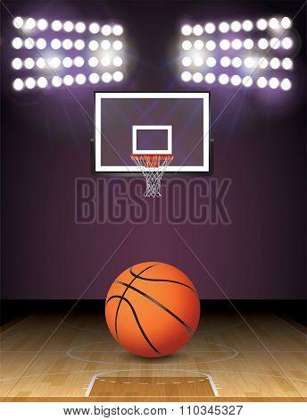 Basketball Court And Lights Ball And Hoop Illustration