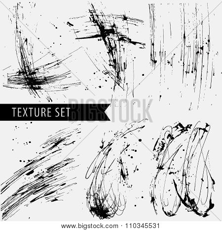 drawn black sharply ink texture set