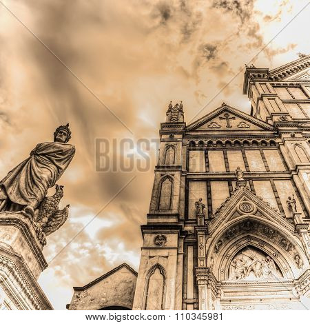 Dante Alighieri Statue And Santa Croce Cathedral In Sepia Tone