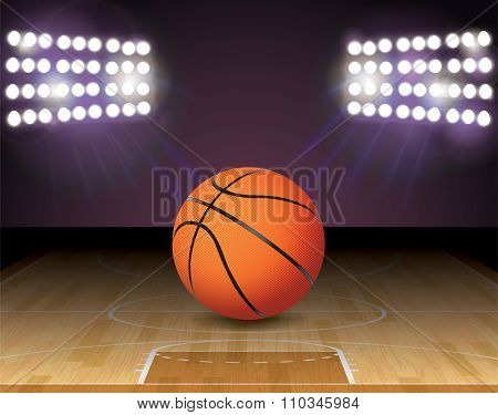 Basketball Court Ball Lights And Hoop Illustration
