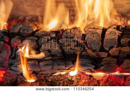 Burning Log Of Wood