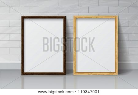 Realistic Light Wood And Dark Wood Blank Picture Frame, Standing On White Floor At
