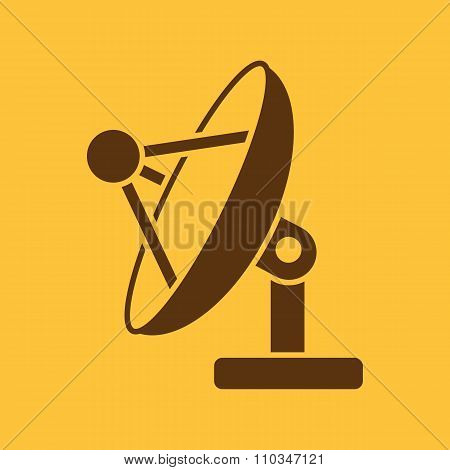 The satellite antenna icon. Communicate and broadcast, telecommunications symbol. Flat