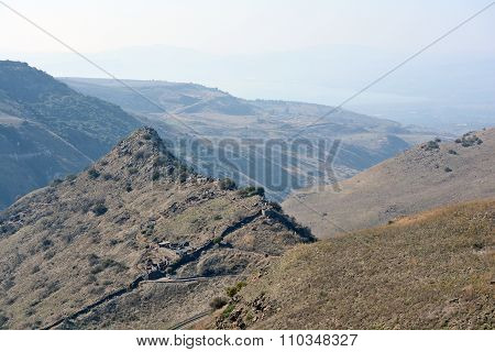 Israeli National Park Gamla Fortress At The Golan Hights