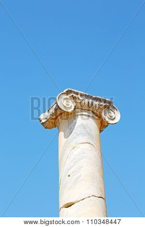 Column In Old  Temple And Theatre
