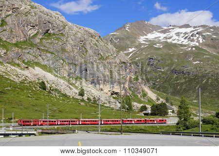 Train Near Bernina Diavolezza Station On The Bernina Railway Line.