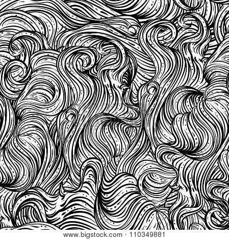 Abstract seamless pattern with wavy hair. Black and white hand drawn vector illustration in line art