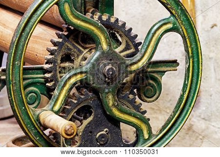 Pinion Gear With Wheel Of Old Mechanical  Device