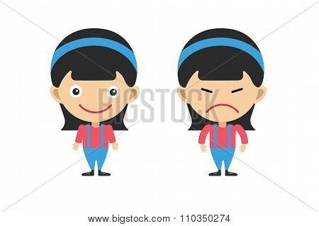 Cartoon girls sisters emotions