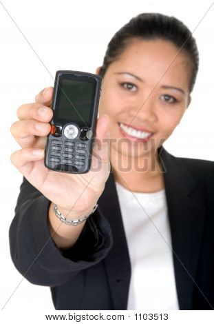 Asian Business Woman Showing Mobile Phone