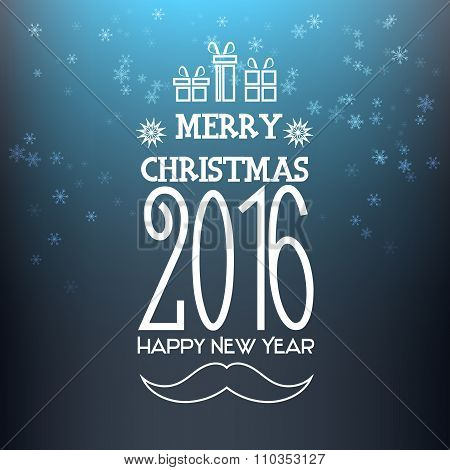 Greeting card Merry Christmas 2016 and happy new year.
