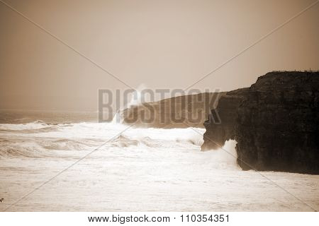 Big White Waves And Cliffs On The Wild Atlantic Way