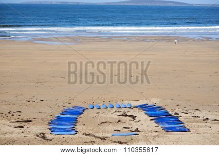 Blue Surf Boards On The Beach