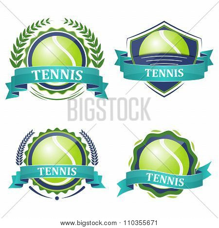 Set of tennis sport vector icons with ribbons, laurel wreath and tennis ball.