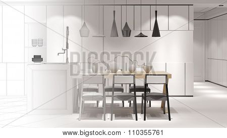 Eat-in-kitchen with dining table from CAD wireframe mesh to 3D Rendering