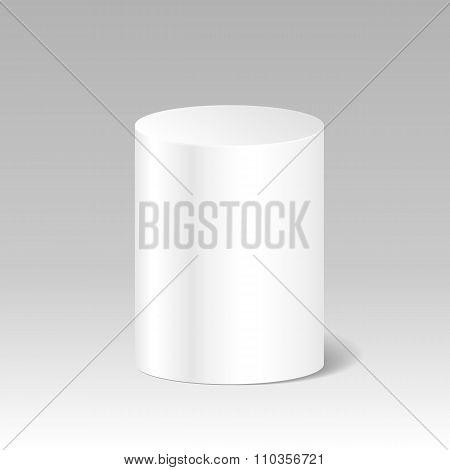 Realistic Blank White Cylinder. Product Package Box Mock Up. Sta