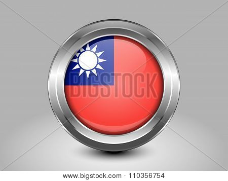 Flag Of Taiwan Republic Of China. Metal Round Icon