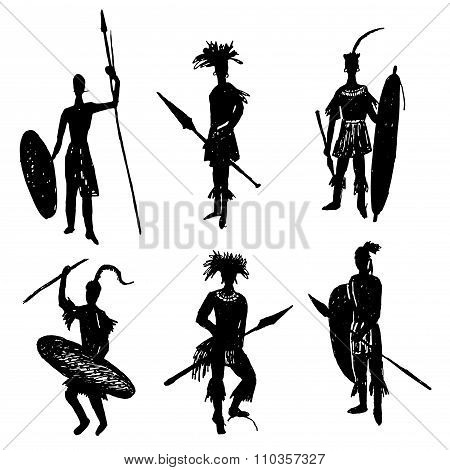 African tribal warriors in the battle suit and arms drawing hand drawn vector illustration