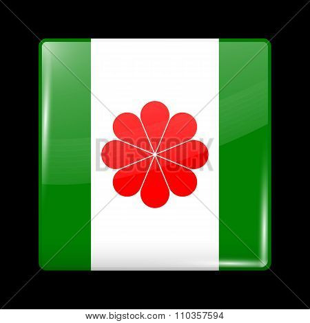 Taiwan Variant Flag. Glassy Icon Square Shape