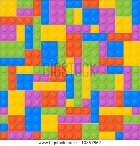 Seamless Pattern. Plastic Constructor Bricks. Balanced, Same Amo