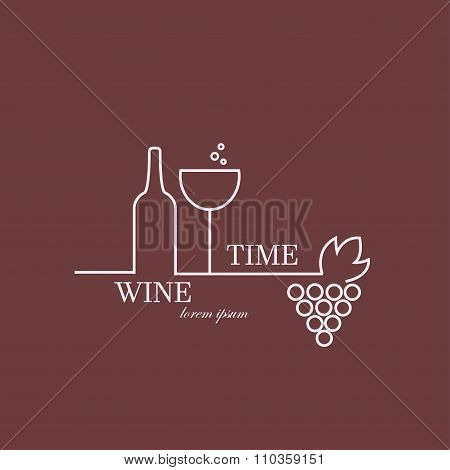 Wine Time. Vector illustration. Logo made in pink and red colors. Can be used in restaurant industry