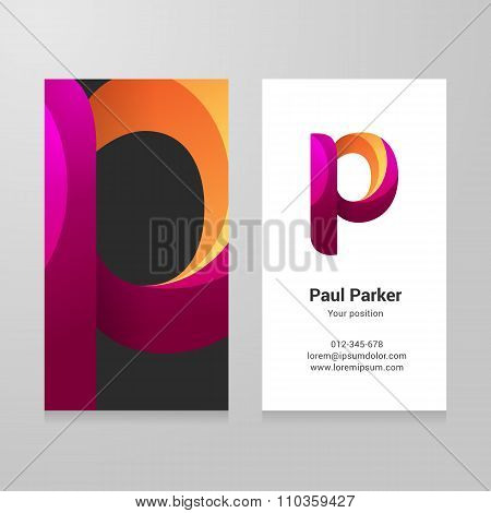 Modern Letter P Twisted Business Card Template