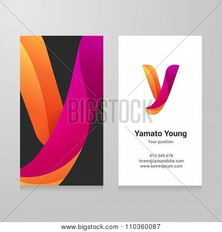 Modern Letter Y Twisted Business Card Template